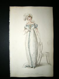 Ackermann 1809 Hand Col Regency Fashion Print. Evening Full Dress